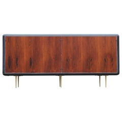 Mid-Century Modern Rosewood Brass and Chrome Sideboard or Credenza