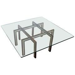 Mid-Century Modern Rosewood Brushed Steel Coffee Table Henning Korch Danish
