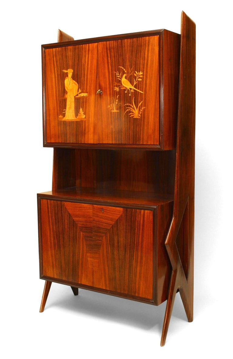 1950's Italian rosewood cabinet attributed to Ico Parisi distinguished by geometric form side supports and a two door inlaid upper section with a shelf above two lower doors containing four interior drawers