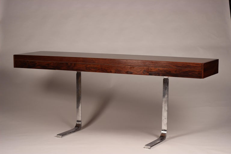 Aluminum Mid Century Modern Rosewood Console Table or Desk by Robert Heritage For Sale