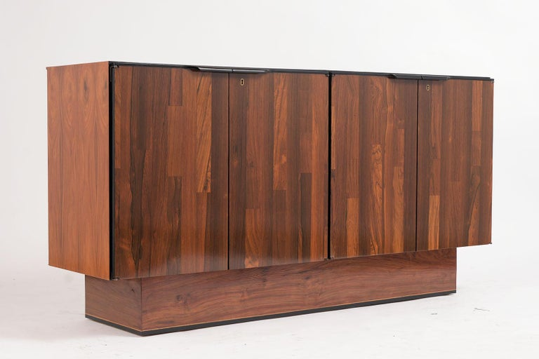 Brazilian 1960's Mid-Century Modern Rosewood Credenza For Sale