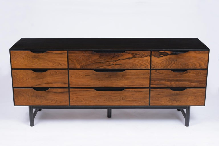 Hand-Crafted Mid-Century Modern Rosewood Credenza For Sale