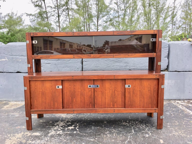 Metal Mid-Century Modern Rosewood Credenza For Sale