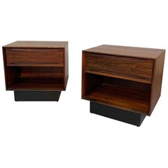 Mid-Century Modern Rosewood Cube Nightstands