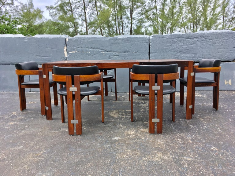 Metal Mid-Century Modern Rosewood Dining Table For Sale