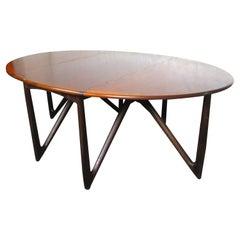 Mid-Century Modern Rosewood Drop Leaf Dining Table by Kurt Østervig