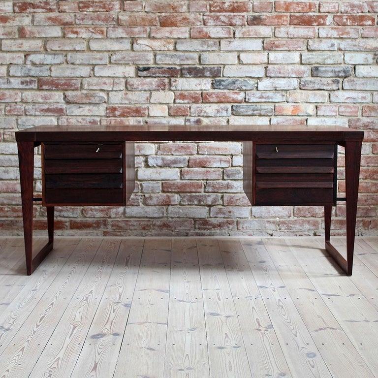 Danish Mid-Century Modern Rosewood Executive Desk by Kai Kristiansen, Model 70, 1950s For Sale