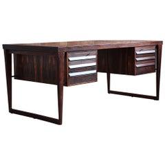 Mid-Century Modern Rosewood Executive Desk by Kai Kristiansen, Model 70, 1950s