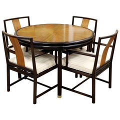Mid-Century Modern Rosewood Expandable Dining Set 4 Armchairs and Table Dunbar