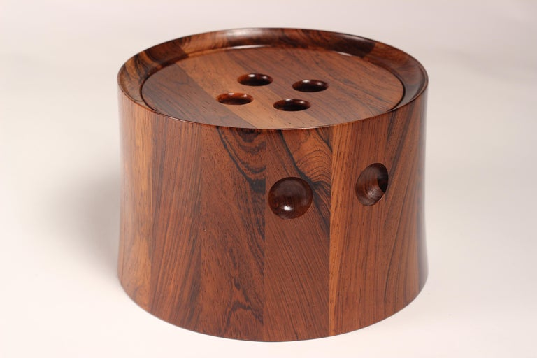 Turned Mid-Century Modern Rosewood Ice Bucket Designed by Jens Quistgaard For Sale