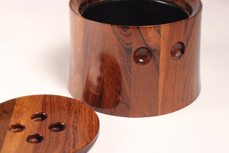 Mid-Century Modern Rosewood Ice Bucket Designed by Jens Quistgaard In Good Condition For Sale In London, GB