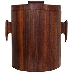 Mid-Century Modern Rosewood Ice Bucket, in the Style of Jean Gillon