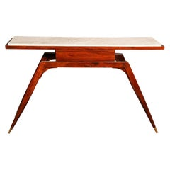 Mid-Century Modern Rosewood Italian Marble-Top Console Table with Drawer