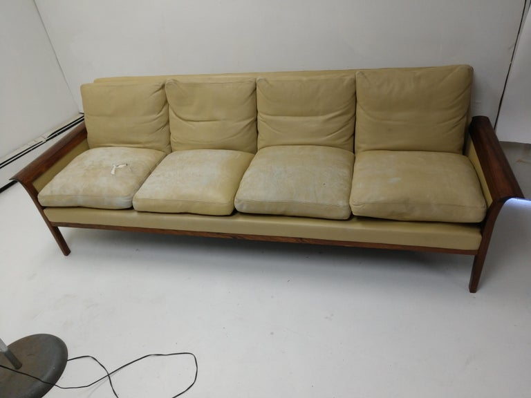 Mid-Century Modern Rosewood & Leather 4-Seat Sofa Knut Sawyer for Vatne Møbler For Sale 4