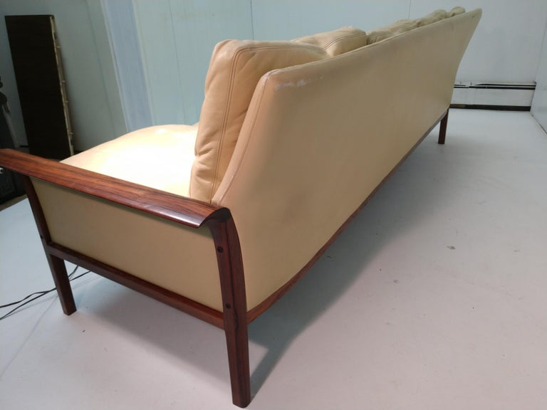 Mid-20th Century Mid-Century Modern Rosewood & Leather 4-Seat Sofa Knut Sawyer for Vatne Møbler For Sale