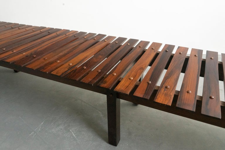 South American Mid-Century Modern Rosewood Mucki Bench by Sergio Rodrigues For Sale