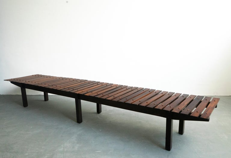 Mid-Century Modern Rosewood Mucki Bench by Sergio Rodrigues In Good Condition For Sale In Clifton, NJ