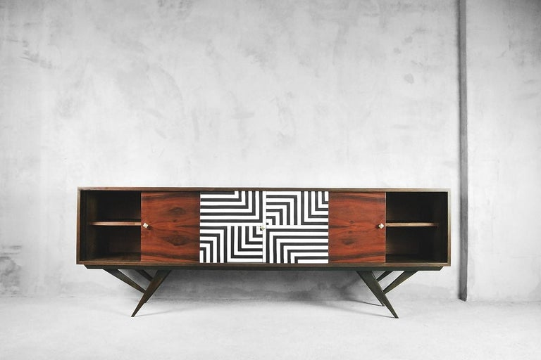 Scandinavian Mid-Century Modern Rosewood Organic Sideboard with Labyrinth Pattern, 1960s For Sale