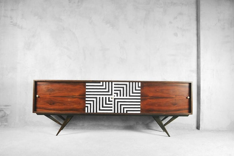 Mid-20th Century Mid-Century Modern Rosewood Organic Sideboard with Labyrinth Pattern, 1960s For Sale