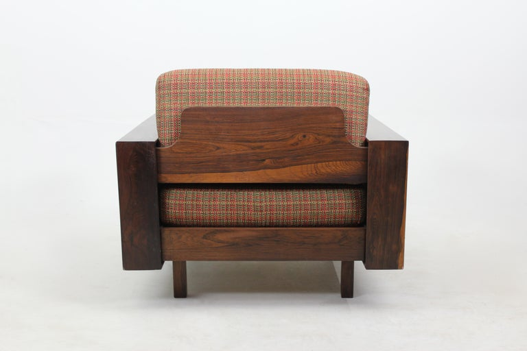 Mid-Century Modernpair of armchairs by Celina Decorações, Brazil, 1960s (Set of 2).  Created and produced in Brazil in the 1960s by the manufacturer Celina Decorações, this pair of armchairs is structured in solid wood and features comfortable
