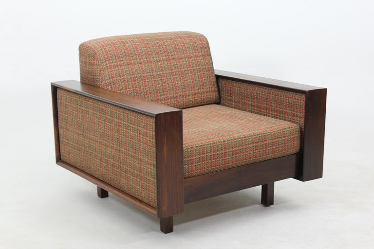 Woodwork Mid-Century Modern Pair of Armchairs by Celina Decorações, Brazil 1960s For Sale