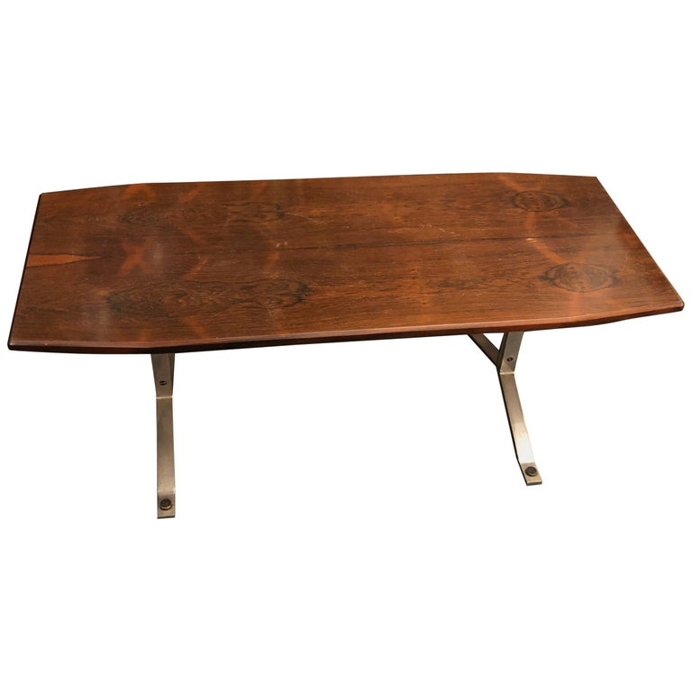 Mid-Century Modern Rosewood Rio and Steel Italian Coffee Table, circa 1970 For Sale