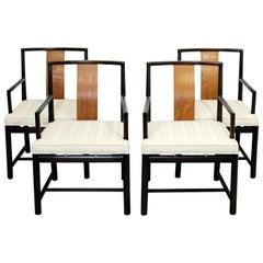 Mid-Century Modern Rosewood Set of 4 Dining Armchairs Dunbar Baker Style, 1960s