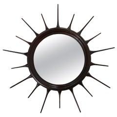 Mid-Century Modern Wood Sunburst Mirror, Brazil, 1950s