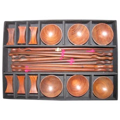 Mid-Century Modern Rosewood Sushi Set for Six 26 Pieces