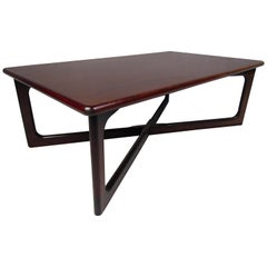 "Mid-Century Modern Rosewood ""X"" Base Coffee Table"