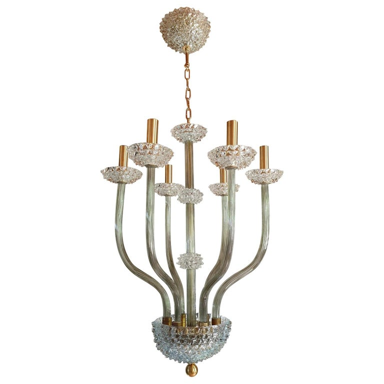 Mid-Century Modern Rostrato Clear/Light Green Murano Textured Glass Chandelier For Sale