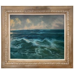 Mid-Century Modern Rough Seas Landscape Oil Painting Signed