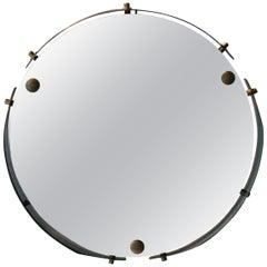 Mid-Century Modern Round Brass Italian Wall Mirror, Italy, 1960