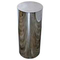 Mid-Century Modern Round Chrome Drum Pedestal Display Stand Jere Mayan Era 1960s