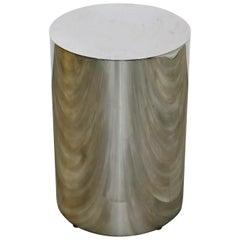 Mid-Century Modern Round Chrome Drum Pedestal Display Stand Paul Mayan Era 1960s
