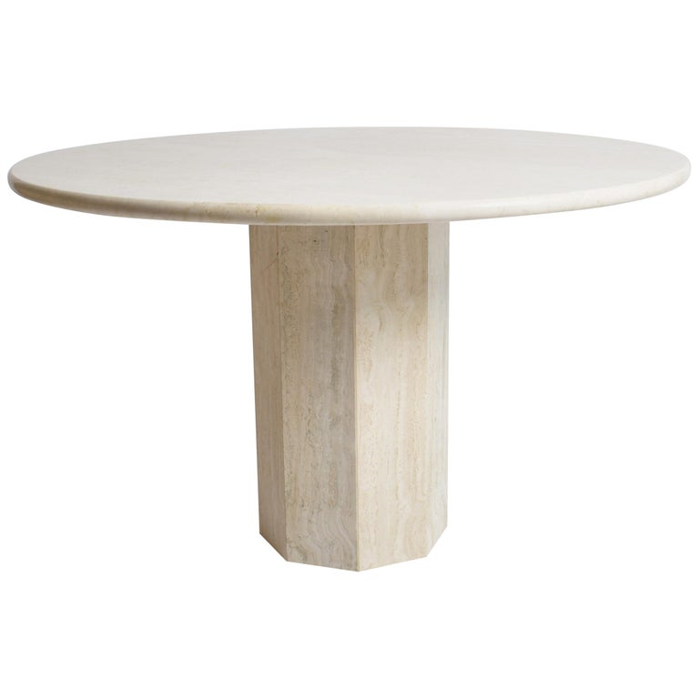 Mid-Century Modern Round Cream Travertine Dining Table, Italy, 1970 For Sale