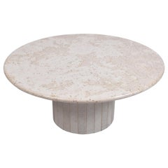 Mid-Century Modern Round Cream Travertine Pedestal Coffee Table, 1970, Italy