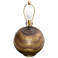 Mid-Century Modern Round Hammered Brass, Copper and Bronze Table Lamp