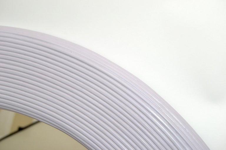 Mid-Century Modern Round Handmade Light Purple Finish Pencil Reed Wall Mirror For Sale 4