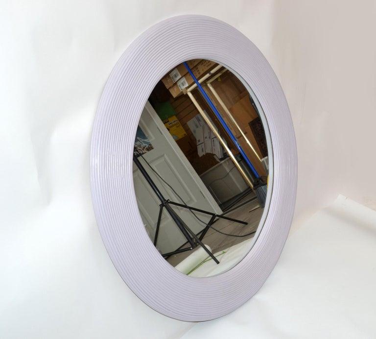 Mid-Century Modern Round Handmade Light Purple Finish Pencil Reed Wall Mirror For Sale 6