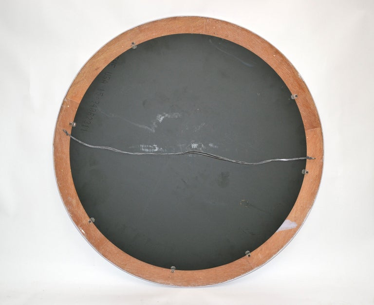 Mid-Century Modern Round Handmade Light Purple Finish Pencil Reed Wall Mirror For Sale 7