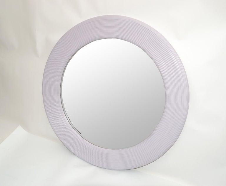 American Mid-Century Modern Round Handmade Light Purple Finish Pencil Reed Wall Mirror For Sale