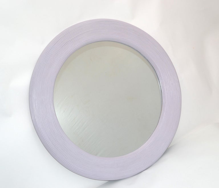Painted Mid-Century Modern Round Handmade Light Purple Finish Pencil Reed Wall Mirror For Sale