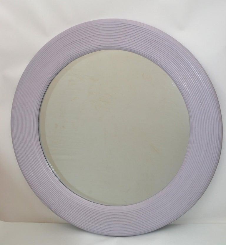 Mid-Century Modern Round Handmade Light Purple Finish Pencil Reed Wall Mirror For Sale 1