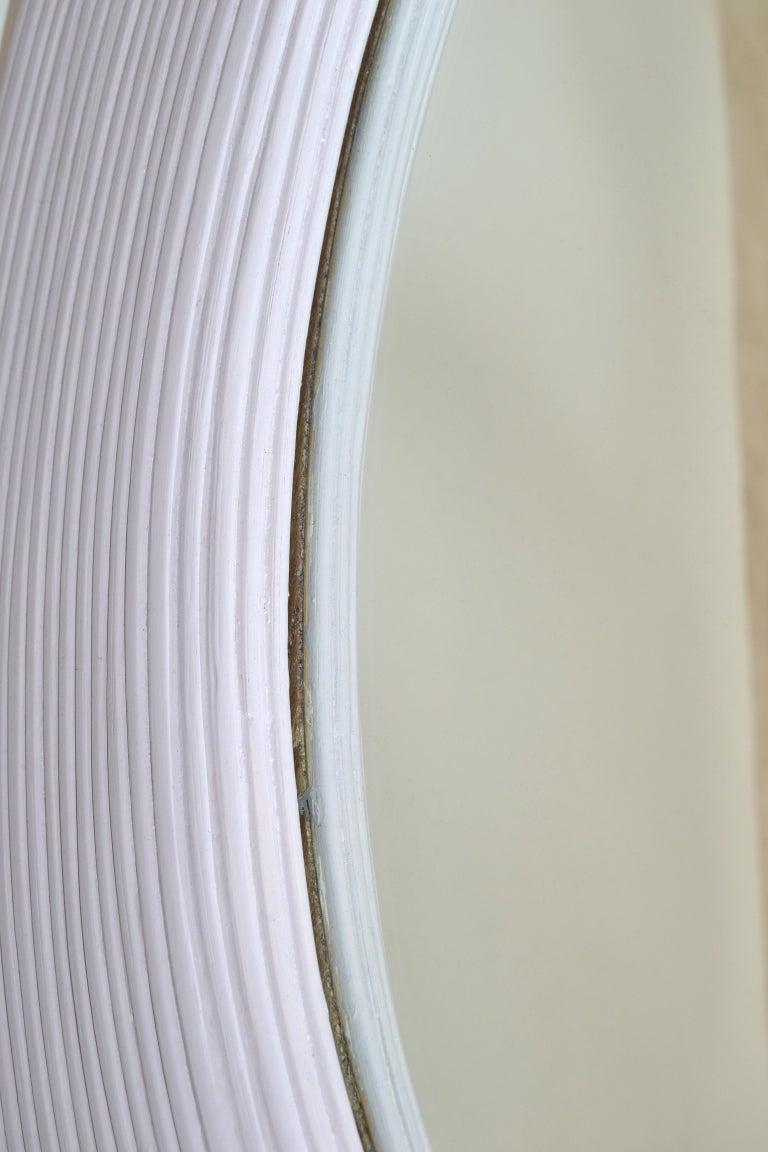Mid-Century Modern Round Handmade Light Purple Finish Pencil Reed Wall Mirror For Sale 2