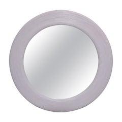 Mid-Century Modern Round Handmade Light Purple Finish Pencil Reed Wall Mirror