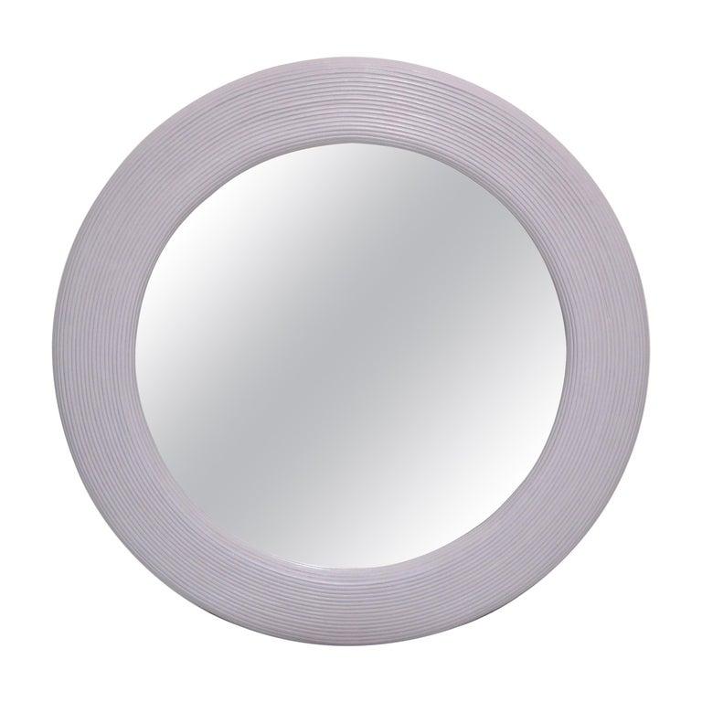 Mid-Century Modern Round Handmade Light Purple Finish Pencil Reed Wall Mirror For Sale