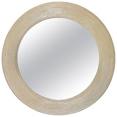 Mid-Century Modern Round Handmade White Washed Pencil Reed Wall Mirror