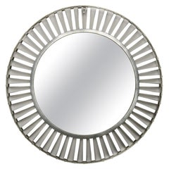 Mid-Century Modern Round Industrial Style Mirror, Silver Coated, circa 1960