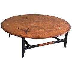 Mid-Century Modern Round Inlay Walnut Coffee Table by Lane Alta Vista